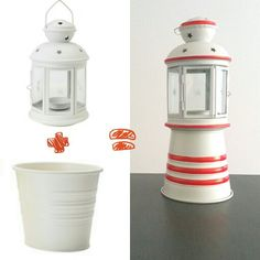 5$ DIY lighthouse tealight holder. You need white Ikea Rotera tealight holder and white Ikea Socker pot. Glue them together and paint red stripes. 20 minutes hack. Easy and beautiful.
