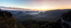 Sunrise in Saxon Switzerland Germany [OC][2048 x 825]   landscape Nature Photos
