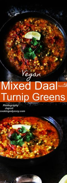 Mixed daal with Turnip greens-Shalgham ke Patte vali Daal