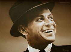Schilderij Frank Sinatra. Olieverf. Daisy van Montfort.