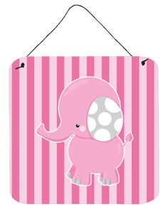 Elephant on Pink Stripes Wall or Door Hanging Prints BB6955DS66