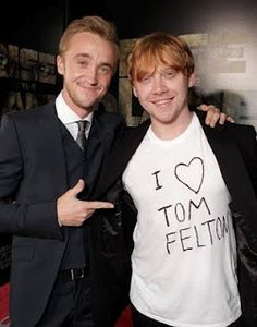 """awwwwww, it would be even better if Tom Felton had a shirt on that said """"I <3 Rupert Grint"""""""