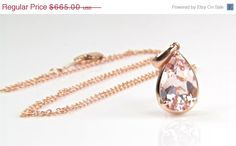 30% OFF SALE Pear Shaped Morganite Necklace in 14K by bskdesigns