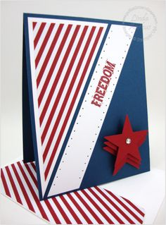 Words of Courage--Oops! I used our old (retired) Star Punch on this patriotic card. It seemed like the right thing to do since STARS and STRIPES go so well together!