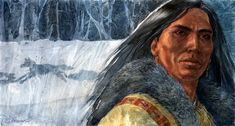 Gouache painting of a Native American by Geraldine Aikman: Chasing Wolves I did this painting in the winter. Most of my paintings are available as originals or can be purchased as prints. Stock Art, Gouache Painting, Native American Art, Native Americans, Art Paintings, Wolves, Nativity, Originals, Art Gallery