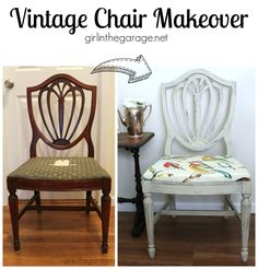 Vintage chair makeover - See how this old Goodwill chair was transformed into this shabby chic stunner!  girlinthegarage.net