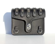 Bikers Belt Pouch with Skull Rivets and Silver Stitching, Motorcycle Accessory, Small Leather Pouch for Men, Custom Biker Leather Belt Pouch