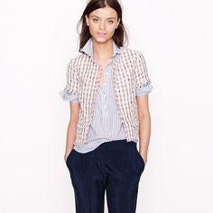 JCREW  Neon tweed short sleeve jacket over button shirt. **Love collar up*