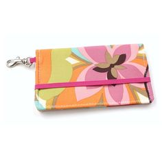 Floral Cell Phone Wallet  Pink Orange Blue Green by kailochic, $22.00