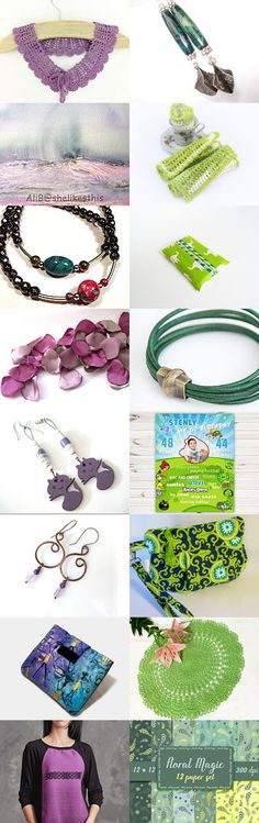....green meets puple .... by Tatie on Etsy--Pinned+with+TreasuryPin.com