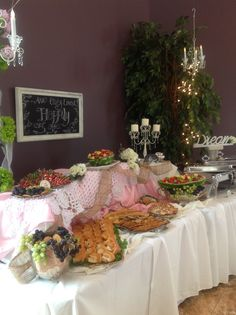 Shabby chic reception food table.