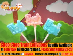 Choo Choo Train lollypops. Handcrafted by LollyTalk.