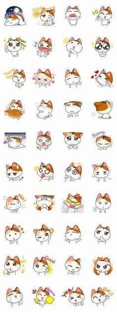 Neko, cat, text, emojis; Kawaii