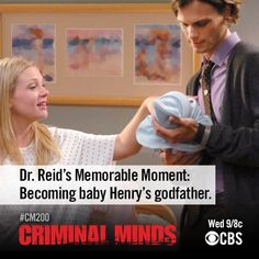 Prior to CM celebrating its episode, the show looks back at some it& most memorable moments. Here, Henry meet his godfather, Spence. Criminal Shows, Criminal Minds Tv Show, Criminal Minds Quotes, Best Tv Shows, Best Shows Ever, Favorite Tv Shows, Favorite Things, Morgan And Garcia, Behavioral Analysis Unit