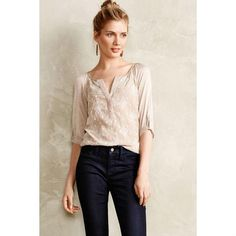 2ddd84e92a Anthropologie Beige Tiny Embroidered Blouse Size 6 (S). Free shipping and  guaranteed authenticity. Tradesy