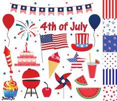 4th of July clipart  Fourth of July clip art  by JaneJoArt on Etsy