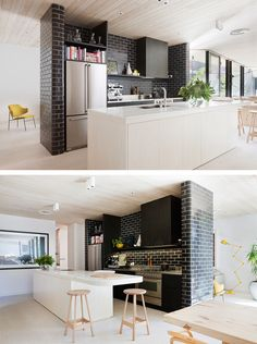 A central wall of glazed bricks forms the kitchen in this architect's own home