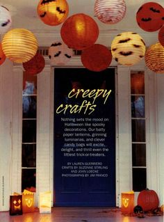 Paper lanterns, spray painted in different colors, add silhouettes, and hang with twinkle lights inside.