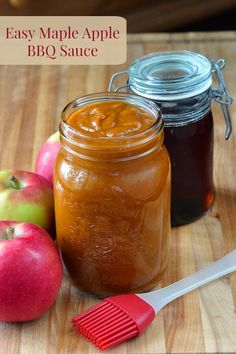 Maple Apple Barbecue Sauce - an easy to make homemade barbecue sauce that uses common ingredients and is especially tasty on grilled chicken or pork. (Chicken Marinade To Freeze) Homemade Barbecue Sauce, Barbecue Sauce Recipes, Homemade Bbq, Homemade Sauce, Bbq Sauces, Smoker Recipes, Apple Bbq Sauce Recipe, Grilling Recipes, Barbeque Sauce