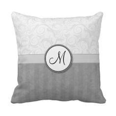 Sold! Silver Snow Floral Wisps & Stripes with Monogram - One of my most popular designs this Christmas!