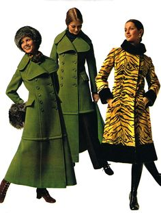 1970s maxi coats vintage style fashion green long coat winter wide tab collar full length riding tiger coat black full collar, color photo print ad models magazine
