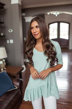 Mint Heathered Ruffle Bottom Top - Dottie Couture Boutique