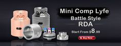 Mini Comp Lyfe Battle Style RDA Rebuildable Dripping Atomizer - Silver, Stainless Steel, 24mm Diameter