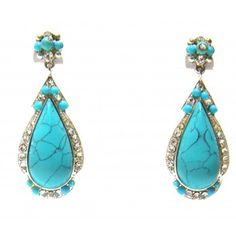 Turquoise and Rhinestone Drop Earrings