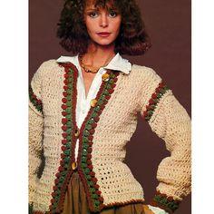 Vintage 1970s Crochet Pattern  Bohemian Folkloric Jacket Peplum Style Cardigan Sweater by 2ndlookvintage, $3.00