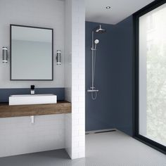 Splashwall Flint Single Shower Panel for protecting your walls from splashes and a practical alternative to glass or tiles this flint single shower panel is made from sturdy acrylic. Bathroom Paneling, Bathroom Plumbing, Plumbing Fixtures, Bathroom Wall Panels, Hm Home, Jamel, Modern Bathroom, Bathroom Ideas, Bathroom Interior