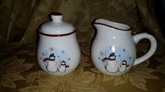 """VINTAGE Royal Seasons Stoneware Sugar Bowl with Lid and Creamer  """"Snowman""""  Adorable!!! by NookHook on Etsy"""