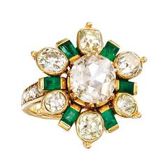 Diamond And Emerald Ring Mounted In 18k Yellow Gold, Created By Rene' Boivin - France   c.1940's | 1stdibs.com
