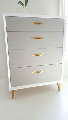 Sold mid Century dresser, vintage dresser painted gray,white and gold, tallboy, painted furniture nj – Decor Vintage Bedroom Furniture, Vintage Dressers, Refurbished Furniture, White Furniture, Repurposed Furniture, Cheap Furniture, Furniture Projects, Furniture Making, Furniture Makeover