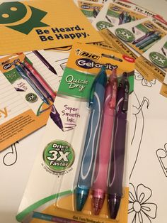 Colorful, smooth, and Quick Dry new from Bic! Bic Gelocity - NO SMEAR, they dry so quickly! Thanks for the free gel pens - so pretty in pink, purple, and light blue!  I love them!  #freesample #ad #smiley360 #BicGelocity