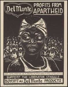 """""""""""Del Monte profits from apartheid. Support the liberation struggle: Boycott all Del Monte products"""" Bay Area Namibia Action Group San Francisco, California 1994 """" Apartheid, Union Of South Africa, United Church Of Christ, Protest Posters, Protest Art, Political Art, African Diaspora, Historical Maps, African History"""
