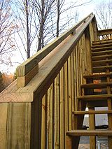 Handrails for tall deck stairs.