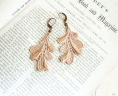 lace earrings LORI ombre ecru tinaevarenee on Etsy