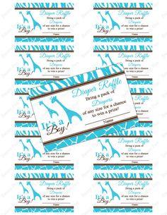 Boy Blue Safari Baby Shower Giraffe Jungle Baby shower diaper raffle ticket - instant download on Etsy, $4.00