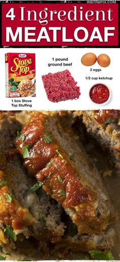This quick and easy meatloaf recipe will soon be a family favorite! It's made wi… This quick and easy meatloaf recipe will soon be a family favorite! It's made with 4 simple ingredients: Stove Top Stuffing, ground beef, eggs and ketchup. Quick Easy Meatloaf Recipe, Meat Loaf Recipe Easy, Quick Hamburger Recipes, Stovetop Meatloaf Recipe, Simple Food Recipes, Hamburger Recipes Easy, Chicken Recipes, Recipe Chicken, Meatball Recipes