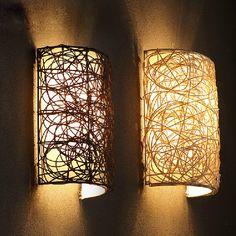 Aliexpress Acheter Bambou En Osier Rotin Ombre Lampe De Paroi
