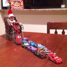 No My Little Pony at home? Use your kid's Cars figures then and make a modern sleigh!