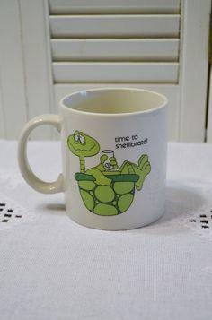 Vintage Turtle Coffee Mug Time to Shellibrate Funny Mug Gag Gift Celebrate Otagiri Gibson Cards PanchosPorch by PanchosPorch on Etsy