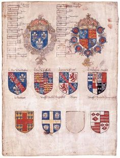 Francis I and King Henry VIII - The Field of Cloth of Gold - The entertainment was not lacking, with a jousting tournament between knights on horseback. The roll of arms from the tournament, starting with those of the two kings, and then listing the arms of the jousting knights.