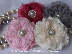 Set of 4 Lacy Ribbon Flower Hair Bow for Girls Girl by RadiantBows, $15.99