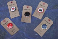 Selection of Muffin ink badges: Lovin' London, Lovin' Brixton, Lovin' Furzedown, Just my Type & Hello