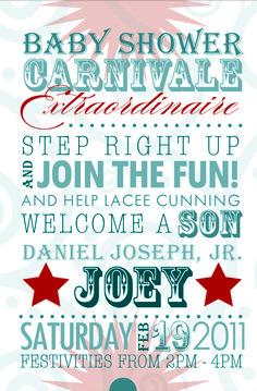Carnival Baby Shower Theme | Carnivalinvite main front