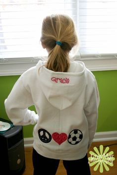 Sale on Girls Zip Hoodie with Peace Love Soccer,Horse or Softball Applique
