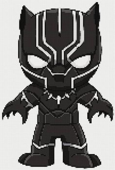 Black Panther (Movie Version) Ultimate Chibi cross stitch and plastic canvas