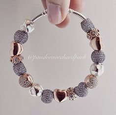 Pandora bracelet. Silver and Rose Gold. I love the pinkish color of the rose gold, it goes great with fair skin.