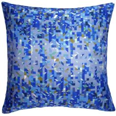 Nitin Goyal London - Pixelated Triangles Silk Cushion Blue (65 CAD) ❤ liked on Polyvore featuring home, home decor, throw pillows, pillows, tropical throw pillows, blue toss pillows, blue home decor, silk accent pillows and tropical home decor